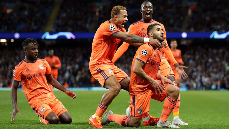 MANCHESTER, ENGLAND - SEPTEMBER 19: Nabil Fekir of Lyon celebrates after scoring his team's second goal with his team mates during the Group F match of the UEFA Champions League between Manchester City and Olympique Lyonnais at Etihad Stadium on September 19, 2018 in Manchester, United Kingdom.  (Photo by Richard Heathcote/Getty Images)