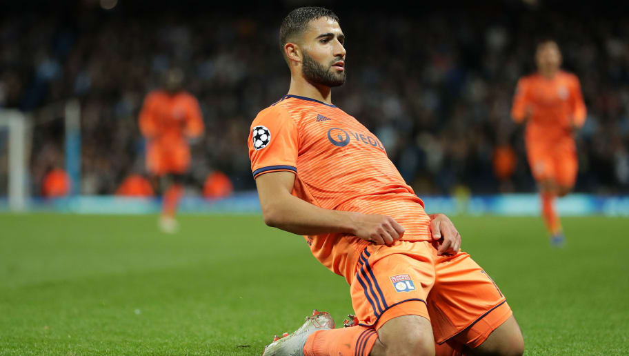 MANCHESTER, ENGLAND - SEPTEMBER 19:  Nabil Fekir of Lyon celebrates after scoring his team's second goal during the Group F match of the UEFA Champions League between Manchester City and Olympique Lyonnais at Etihad Stadium on September 19, 2018 in Manchester, United Kingdom.  (Photo by Richard Heathcote/Getty Images)