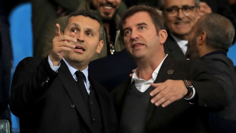 MANCHESTER, ENGLAND - SEPTEMBER 19:  Man City chairman Khaldoon Al Mubarak (L) speaks to Man City Chief Executive Ferran Soriano during the Group F match of the UEFA Champions League between Manchester City and Olympique Lyonnais at Etihad Stadium on September 19, 2018 in Manchester, United Kingdom. (Photo by Marc Atkins/Getty Images)