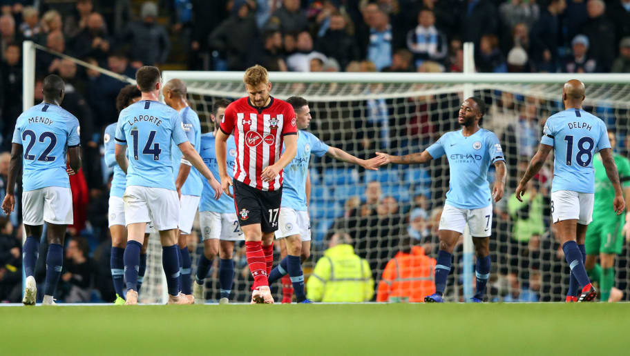 MANCHESTER, ENGLAND - NOVEMBER 04:  Raheem Sterling of Manchester City celebrates with teammates after scoring his team's sixth goal during the Premier League match between Manchester City and Southampton FC at Etihad Stadium on November 4, 2018 in Manchester, United Kingdom.  (Photo by Alex Livesey/Getty Images)