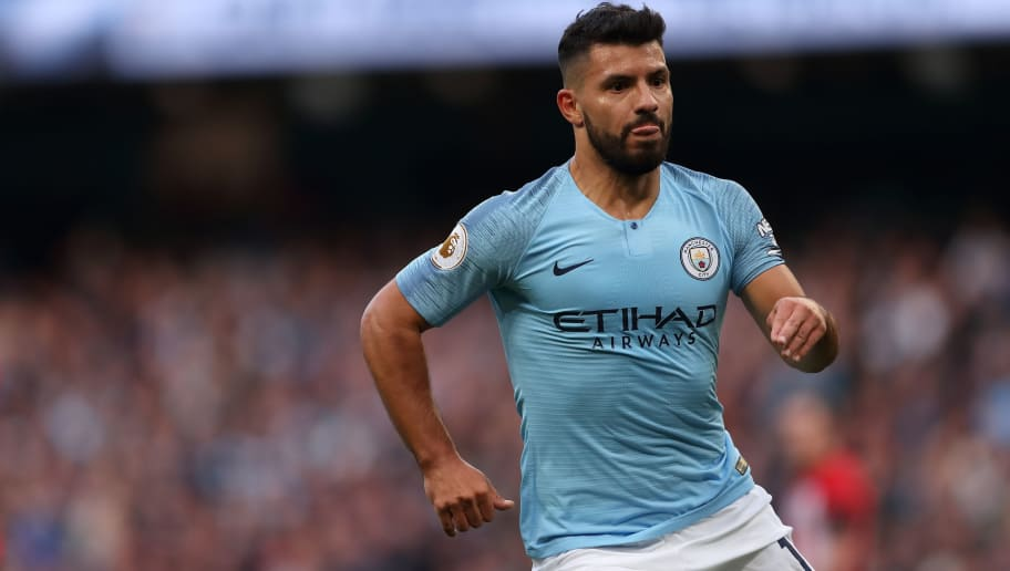 MANCHESTER, ENGLAND - NOVEMBER 04: Sergio Aguero of Manchester City during the Premier League match between Manchester City and Southampton FC at Etihad Stadium on November 4, 2018 in Manchester, United Kingdom. (Photo by James Williamson - AMA/Getty Images)