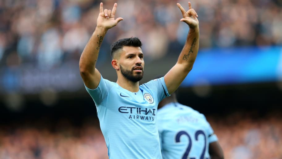 MANCHESTER, ENGLAND - NOVEMBER 04:  Sergio Aguero of Manchester City celebrates after scoring his team's second goal during the Premier League match between Manchester City and Southampton FC at Etihad Stadium on November 4, 2018 in Manchester, United Kingdom.  (Photo by Alex Livesey/Getty Images)