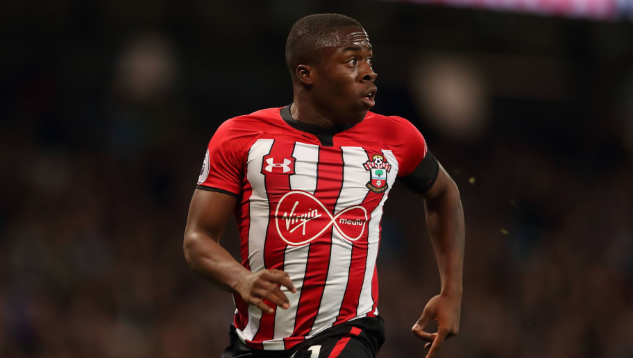 MANCHESTER, ENGLAND - NOVEMBER 04: Michael Obafemi of Southampton during the Premier League match between Manchester City and Southampton FC at Etihad Stadium on November 4, 2018 in Manchester, United Kingdom. (Photo by James Williamson - AMA/Getty Images)