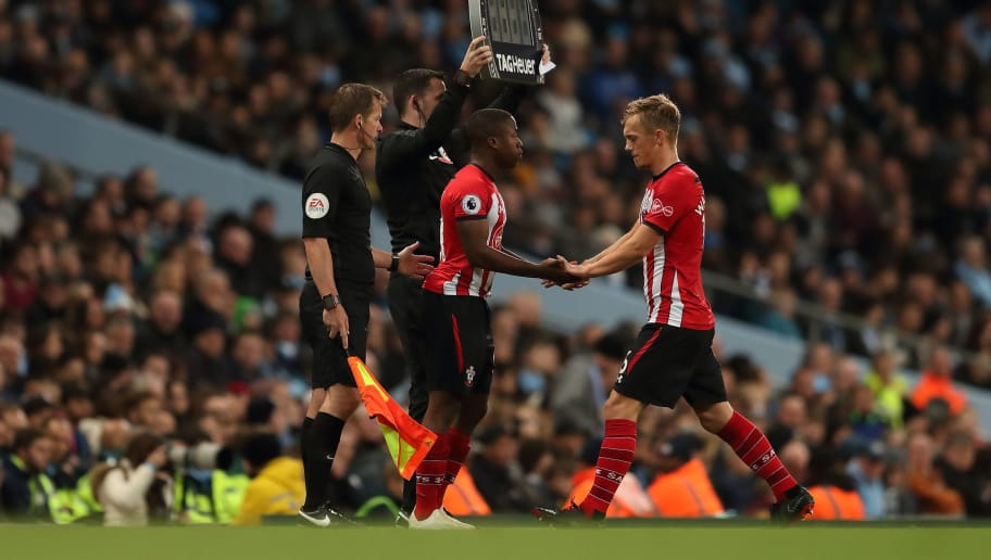 MANCHESTER, ENGLAND - NOVEMBER 04: Michael Obafemi of Southampton replaces James Ward-Prowse of Southampton during the Premier League match between Manchester City and Southampton FC at Etihad Stadium on November 4, 2018 in Manchester, United Kingdom. (Photo by James Williamson - AMA/Getty Images)