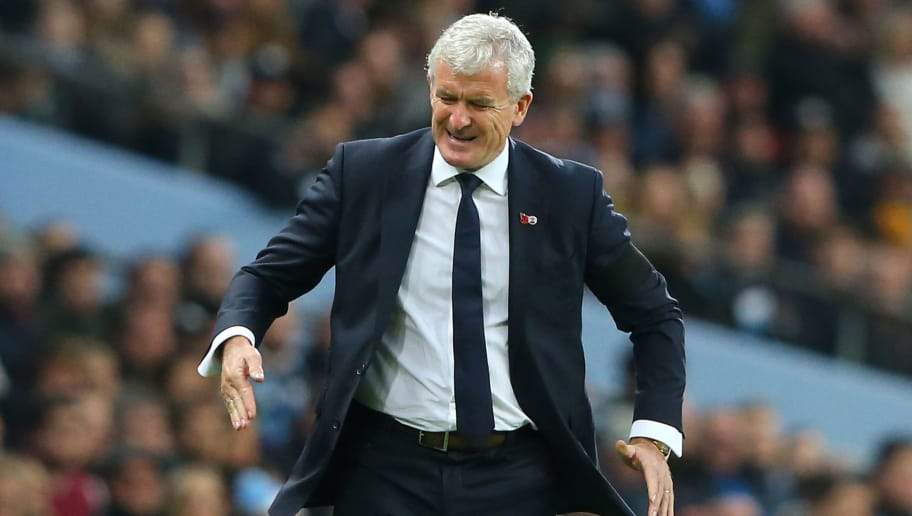 MANCHESTER, ENGLAND - NOVEMBER 04:  Mark Hughes, Manager of Southampton reacts during the Premier League match between Manchester City and Southampton FC at Etihad Stadium on November 4, 2018 in Manchester, United Kingdom.  (Photo by Alex Livesey/Getty Images)