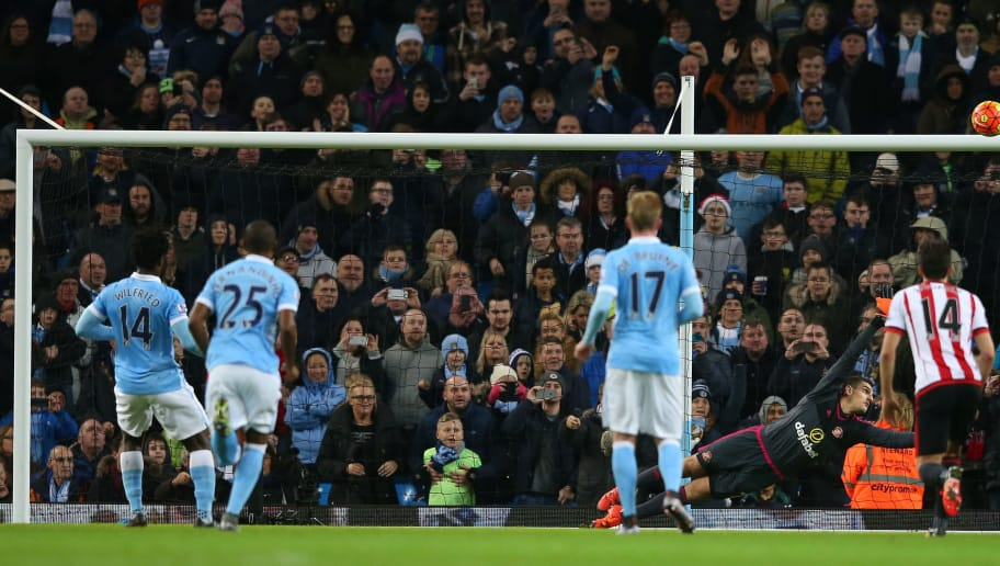 MANCHESTER, ENGLAND - DECEMBER 26:  Wilfried Bony #14 of Manchester City puts his penalty attempt over the bar during the Barclays Premier League match between Manchester City and Sunderland at the Etihad Stadium on December 26, 2015 in Manchester, England.  (Photo by Alex Livesey/Getty Images)