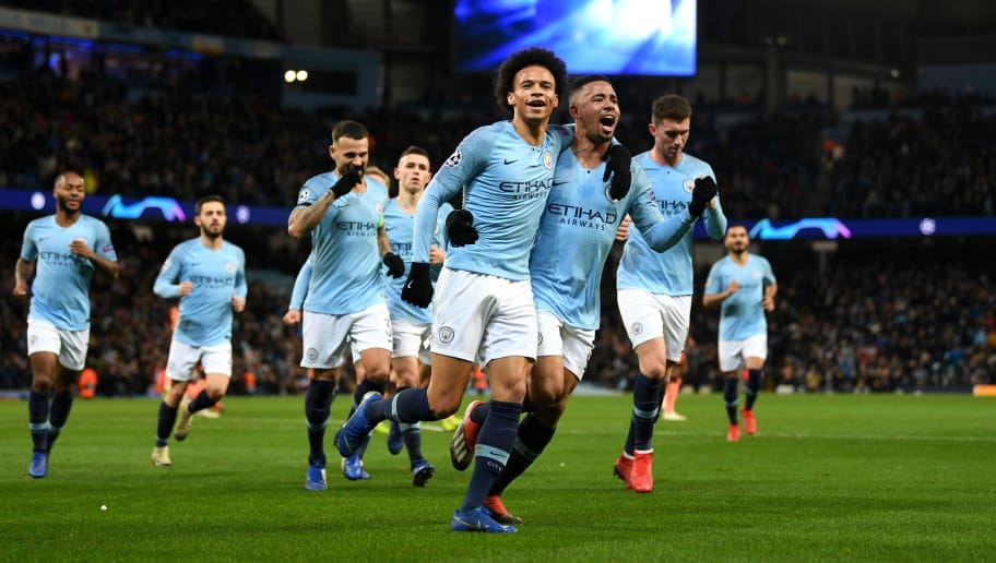 Leroy Sane of Manchester City celebrates scoring his sides first goal with Gabriel Jesus during the UEFA Champions League Group F match between Manchester City and TSG 1899 Hoffenheim at Etihad Stadium on December 12, 2018 in Manchester, United Kingdom. (Photo by Gareth Copley/Getty Images)