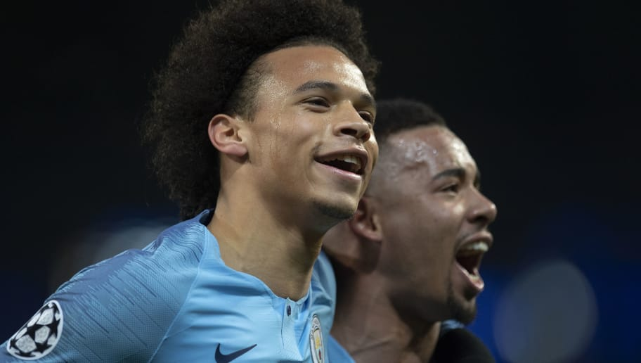 MANCHESTER, ENGLAND - DECEMBER 12: Leroy Sane of Manchester City celebrates with team mate Gabriel Jesus after scoring his first goal from a free kick during the UEFA Champions League Group F match between Manchester City and TSG 1899 Hoffenheim at Etihad Stadium on December 12, 2018 in Manchester, United Kingdom. (Photo by Visionhaus/Getty Images)