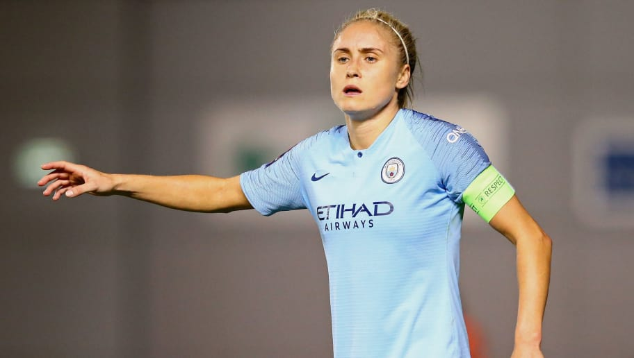 MANCHESTER, ENGLAND - SEPTEMBER 26:  Steph Houghton of Manchester City Women looks on during the UEFA Women's Champions League Round of 32 2nd Leg match between Manchester City Women and Atletico Madrid Women at The Academy Stadium on September 26, 2018 in Manchester, England.  (Photo by Alex Livesey/Getty Images)
