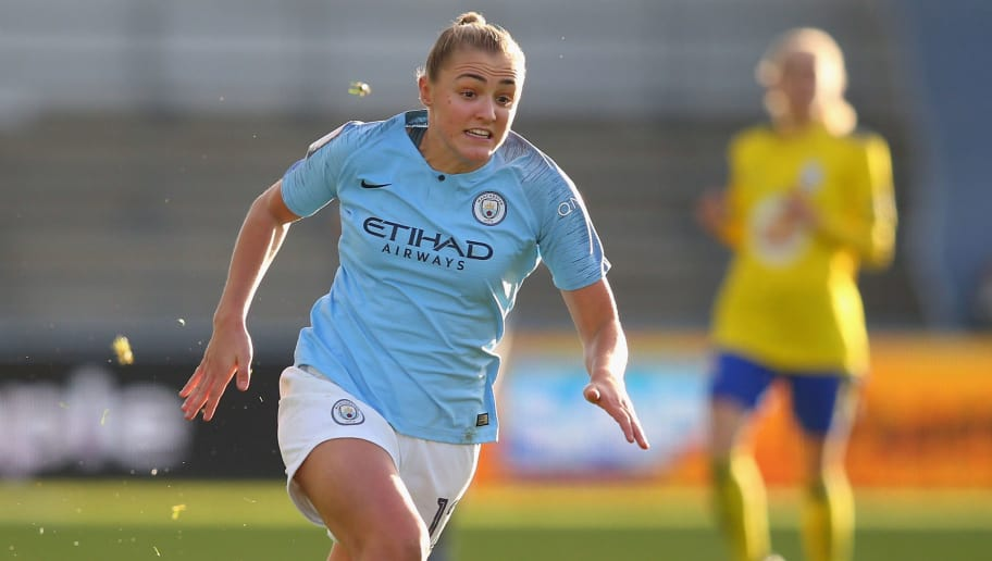 MANCHESTER, ENGLAND - DECEMBER 09:  Georgia Stanway of Manchester City Women runs with ball during the FA WSL match between Manchester City Women and Birmingham City Women at The Academy Stadium on December 9, 2018 in Manchester, England.  (Photo by Alex Livesey/Getty Images)