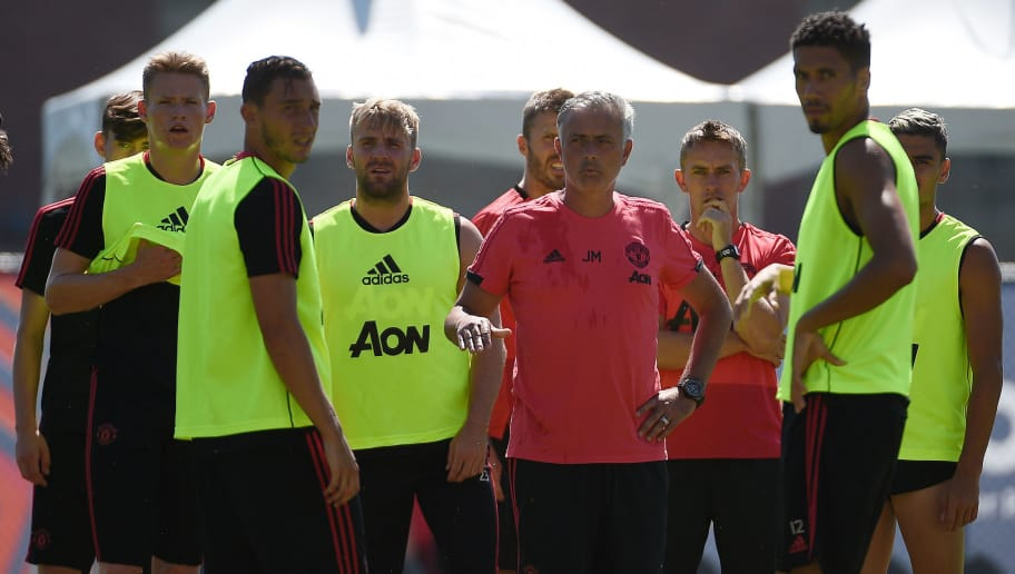LOS ANGELES, CA - JULY 24:  Manager Jose Mourinho of Manchester United surrounded by players during a pre-season training at UCLA on July 24, 2018 in Los Angeles, California. (Photo by Kevork Djansezian/Getty Images)