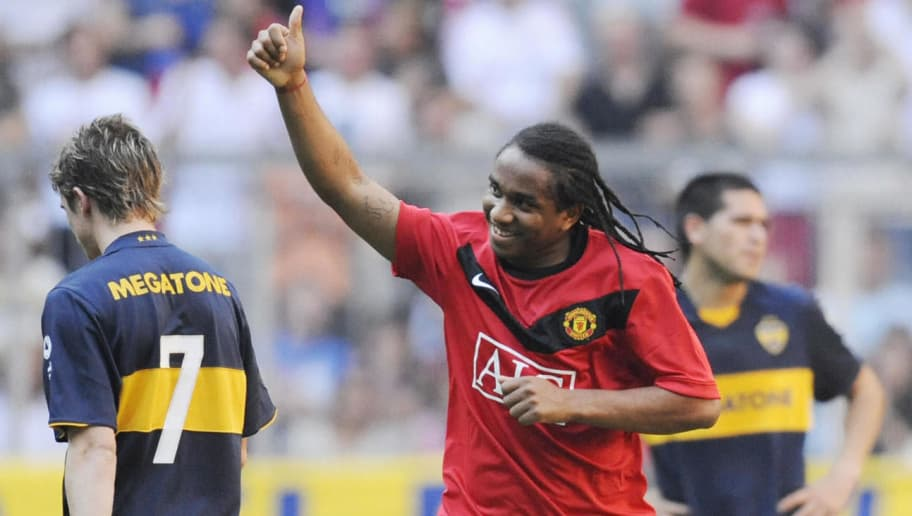 Manchester United's Brazilian midfielder Anderson celebrates the first goal during the semi final of the friendly football match Boca Juniors vs Manchester United on July 29, 2009 in Munich, southern Germany.  AFP PHOTO  DDP/  OLIVER LANG       GERMANY OUT (Photo credit should read OLIVER LANG/AFP/Getty Images)