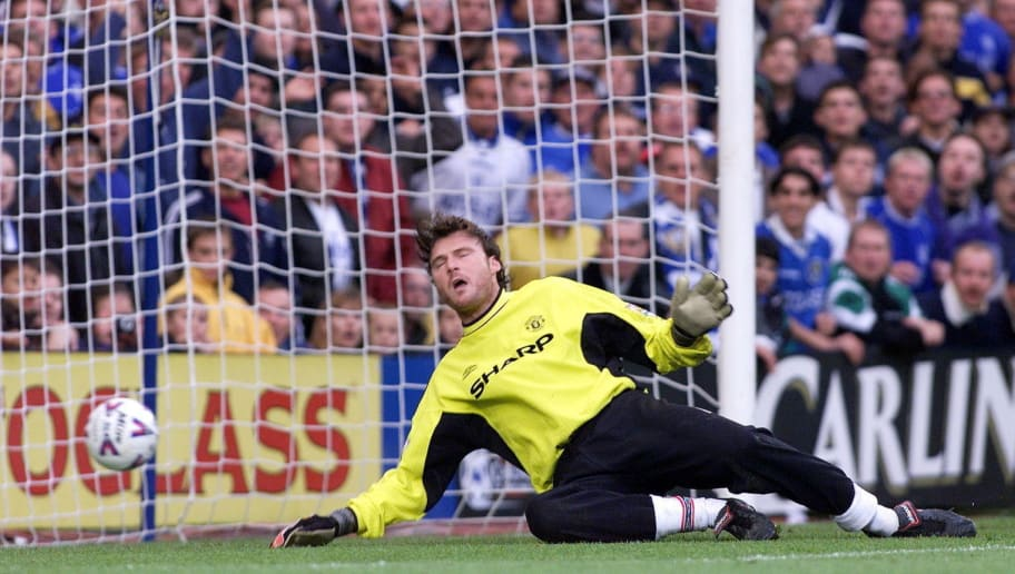 LONDON, UNITED KINGDOM:  Manchester United's goalkeeper Massimo Taibi lets Chelsea's fifth goal in during the Premiership match against Chelsea 03 October 1999. Chelsea won the game 5-0. (ELECTRONIC IMAGE) (Photo credit should read ADRIAN DENNIS/AFP/Getty Images)