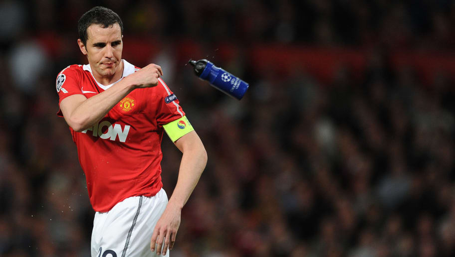 Manchester United's Irish defender John O'Shea reacts during the UEFA Champions League semi-final second leg football match between Manchester United and FC Schalke at Old Trafford in Manchester, north-west England on May 4, 2011. Manchester won by 4-1 and qualified for the final.   AFP PHOTO / PATRIK STOLLARZ (Photo credit should read PATRIK STOLLARZ/AFP/Getty Images)