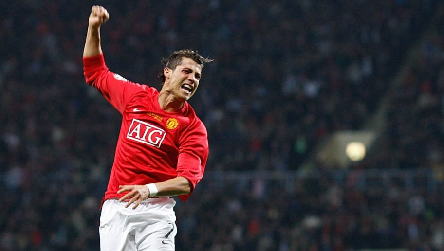 Manchester United's Portugese midfielder Cristiano Ronaldo celebrates after scoring against Chelsea during the final of the UEFA Champions League football match at the Luzhniki stadium in Moscow on May 21, 2008. AFP PHOTO / Adrian Dennis (Photo credit should read ADRIAN DENNIS/AFP/Getty Images)