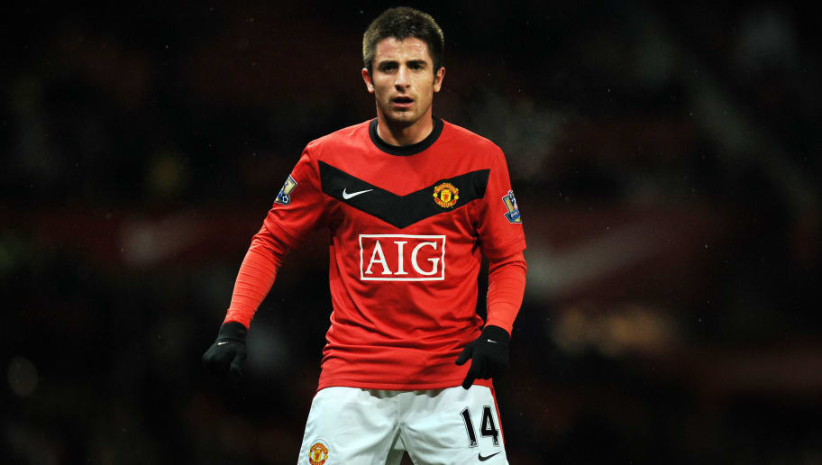 Manchester United's Serbian forward Zoran Tosic watches the ball during their English League Cup football match against Tottenham Hotspur at Old Trafford in Manchester, north-west England, on December 1, 2009. AFP PHOTO/PAUL ELLIS -  FOR EDITORIAL USE ONLY Additional licence required for any commercial/promotional use or use on TV or internet (except identical online version of newspaper) of Premier League/Football League photos. Tel DataCo +44 207 2981656. Do not alter/modify photo. (Photo credit should read PAUL ELLIS/AFP/Getty Images)