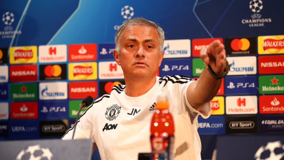 MANCHESTER, ENGLAND - OCTOBER 01:  Jose Mourinho, Manager of Manchester United reacts when speaking to the media during a press conference ahead of their Group H match against Valencia in UEFA Champions League at Aon Training Complex on October 1, 2018 in Manchester, England.  (Photo by Clive Brunskill/Getty Images)