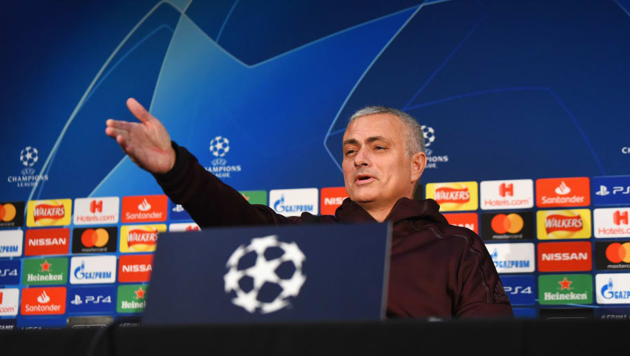 MANCHESTER, ENGLAND - NOVEMBER 26:  Jose Mourinho, manager of Manchester United talks during a press conference at Old Trafford on November 26, 2018 in Manchester, England.  (Photo by Nathan Stirk/Getty Images)