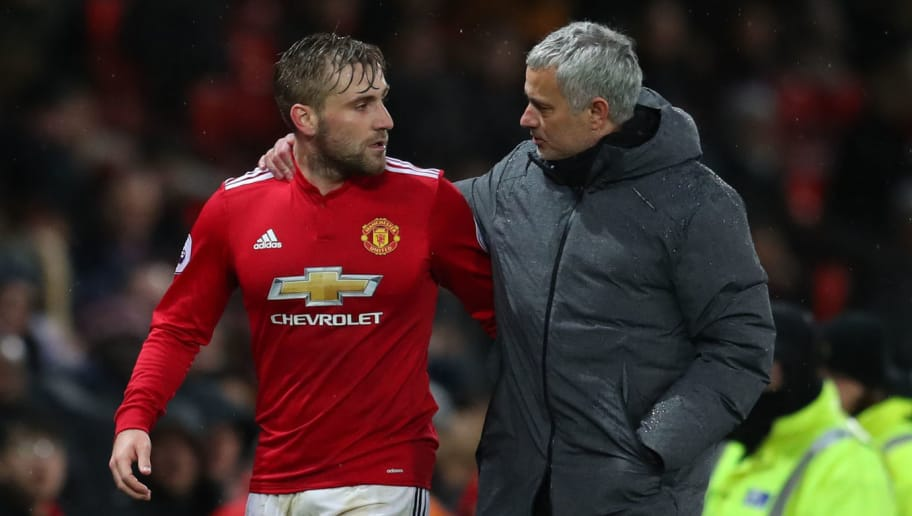MANCHESTER, ENGLAND - DECEMBER 13: Luke Shaw of Manchester United and Jose Mourinho the head coach / manager of Manchester United during the Premier League match between Manchester United and AFC Bournemouth at Old Trafford on December 13, 2017 in Manchester, England. (Photo by Catherine Ivill/Getty Images)