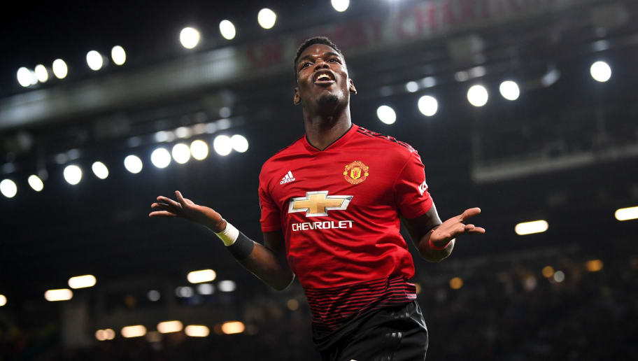 MANCHESTER, ENGLAND - DECEMBER 30: Paul Pogba of Manchester United celebrates as he scores his team's second goal during the Premier League match between Manchester United and AFC Bournemouth at Old Trafford on December 30, 2018 in Manchester, United Kingdom. (Photo by Michael Regan/Getty Images)