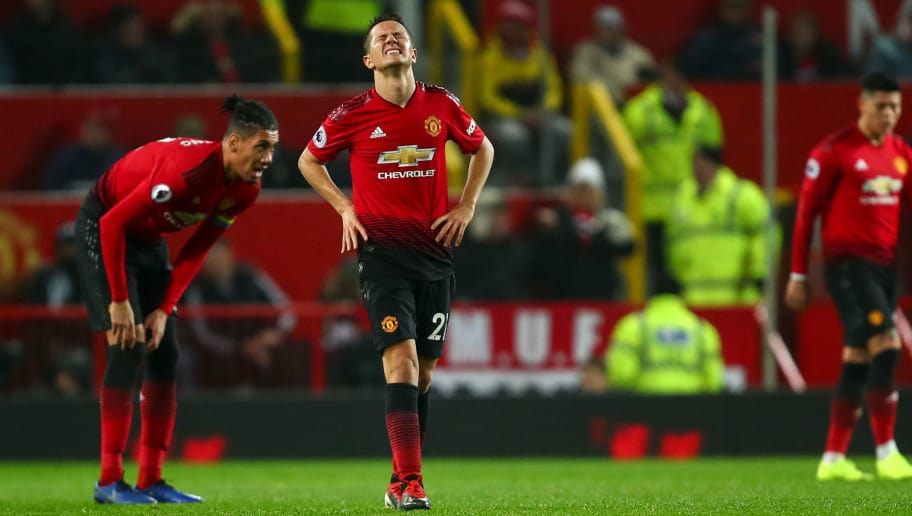MANCHESTER, ENGLAND - DECEMBER 05: Ander Herrera of Manchester United reacts after conceding a goal to make it 1-2 during the Premier League match between Manchester United and Arsenal FC at Old Trafford on December 5, 2018 in Manchester, United Kingdom. (Photo by Robbie Jay Barratt - AMA/Getty Images)