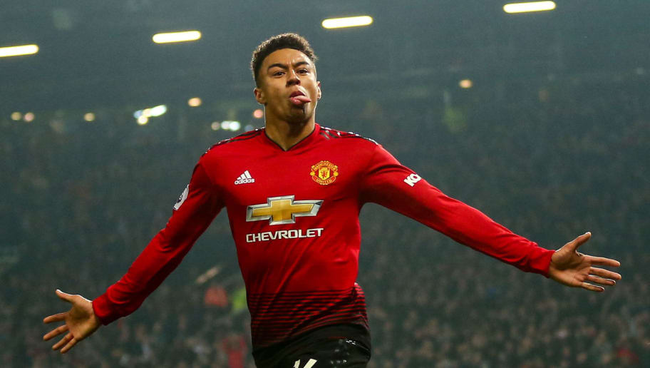 MANCHESTER, ENGLAND - DECEMBER 05: Jesse Lingard of Manchester United celebrates after scoring a goal to make it 2-2 during the Premier League match between Manchester United and Arsenal FC at Old Trafford on December 5, 2018 in Manchester, United Kingdom. (Photo by Robbie Jay Barratt - AMA/Getty Images)