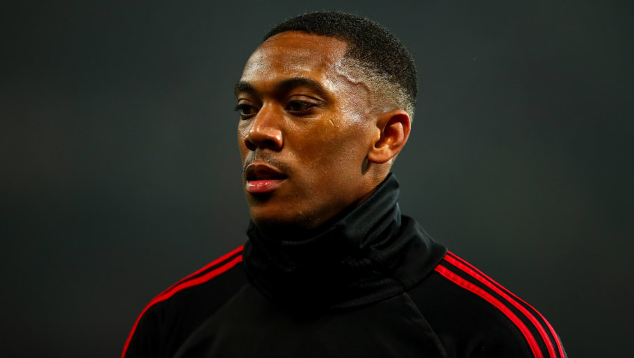 MANCHESTER, ENGLAND - DECEMBER 05:  Anthony Martial of Manchester United warms up prior to the Premier League match between Manchester United and Arsenal FC at Old Trafford on December 5, 2018 in Manchester, United Kingdom. (Photo by Robbie Jay Barratt - AMA/Getty Images)