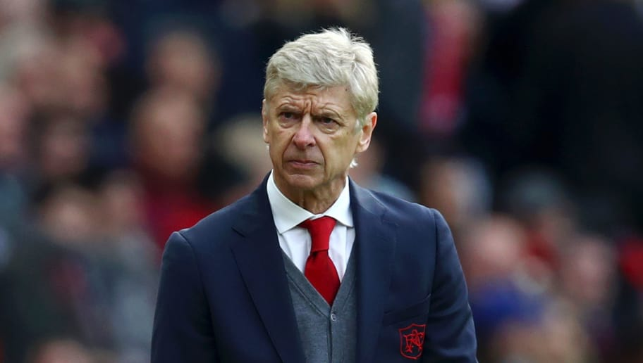 MANCHESTER, ENGLAND - APRIL 29: Arsene Wenger, Manager of Arsenal looks on during the Premier League match between Manchester United and Arsenal at Old Trafford on April 29, 2018 in Manchester, England.  (Photo by Clive Brunskill/Getty Images)
