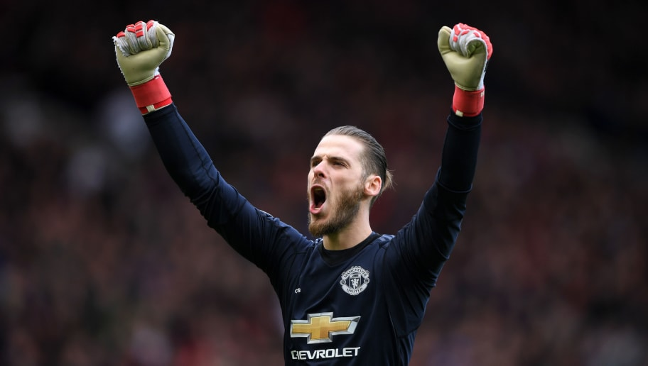 MANCHESTER, ENGLAND - APRIL 29:  David De Gea of Manchester United celebrates his sides first goal during the Premier League match between Manchester United and Arsenal at Old Trafford on April 29, 2018 in Manchester, England.  (Photo by Shaun Botterill/Getty Images)