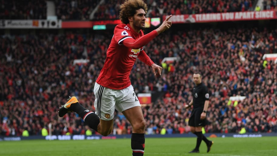 MANCHESTER, ENGLAND - APRIL 29:  Marouane Fellaini of Manchester United celebrates after scoring his sides second goal during the Premier League match between Manchester United and Arsenal at Old Trafford on April 29, 2018 in Manchester, England.  (Photo by Shaun Botterill/Getty Images)