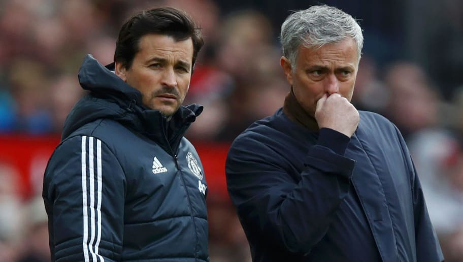 MANCHESTER, ENGLAND - APRIL 29: Jose Mourinho, Manager of Manchester United and Rui Faria, Manchester United assistant manager look on during the Premier League match between Manchester United and Arsenal at Old Trafford on April 29, 2018 in Manchester, England.  (Photo by Clive Brunskill/Getty Images)