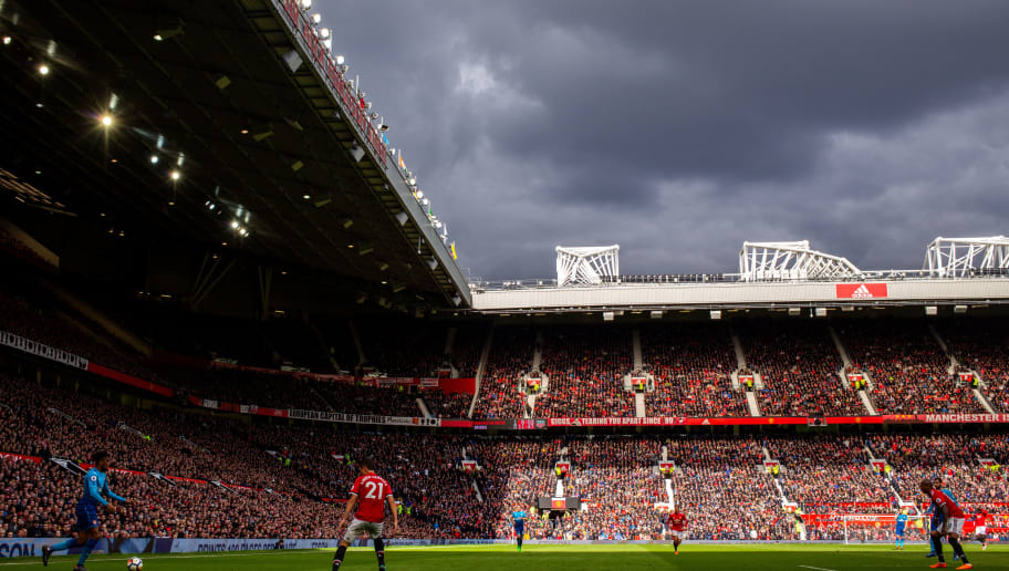 MANCHESTER, ENGLAND - APRIL 29: General view of match action at an overcast Old Trafford, home stadium of Manchester United during the Premier League match between Manchester United and Arsenal at Old Trafford on April 29, 2018 in Manchester, England. (Photo by Robbie Jay Barratt - AMA/Getty Images)