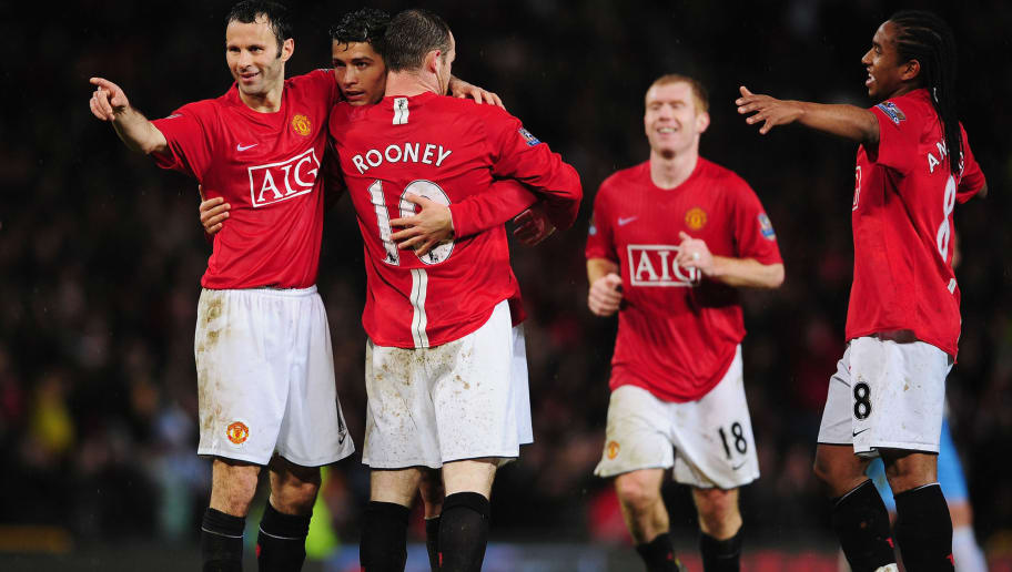 MANCHESTER, UNITED KINGDOM - MARCH 29:  Wayne Rooney (C) of Man.Utd is congratulated by teammates, Ryan Giggs (L), Cristiano Ronaldo (2nd L), Paul Scholes (2nd R) and Anderson (R) after scoring his second and his team's fourth goal during the Barclays Premier League match between Manchester United and Aston Villa at Old Trafford on March 29, 2008 in Manchester, England.  (Photo by Shaun Botterill/Getty Images)