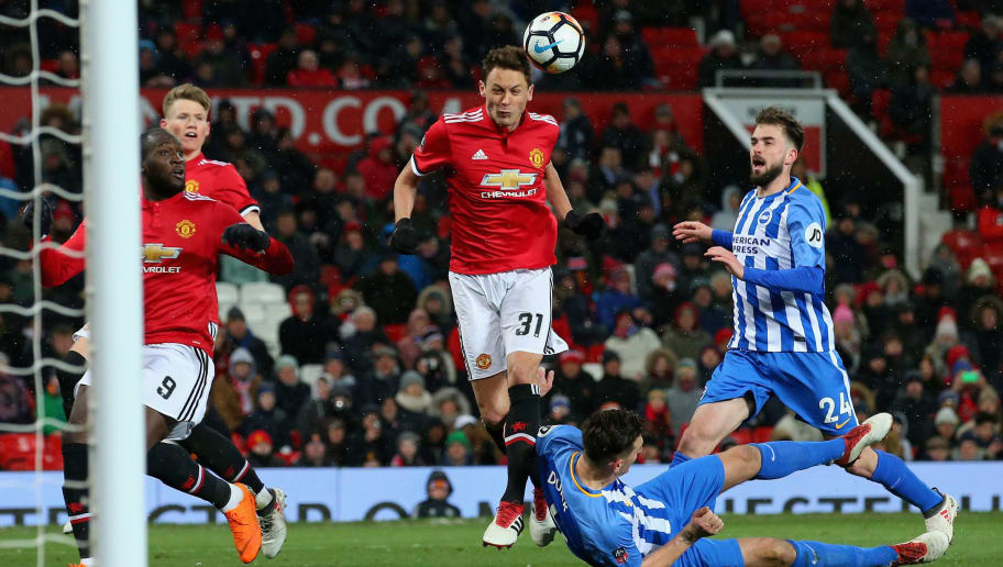 MANCHESTER, ENGLAND - MARCH 17:  Nemanja Matic of Manchester United scores their second goal during the Emirates FA Cup Quarter Final between Manchester United and Brighton & Hove Albion at Old Trafford on March 17, 2018 in Manchester, England.  (Photo by Alex Livesey/Getty Images)