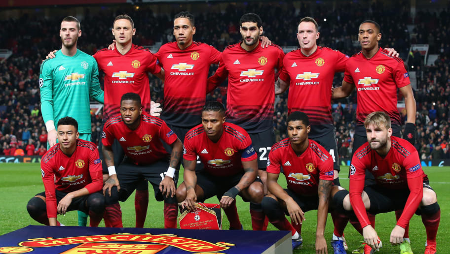 MANCHESTER, ENGLAND - NOVEMBER 27:  The players of Manchester United line up prior to the Group H match of the UEFA Champions League between Manchester United and BSC Young Boys at Old Trafford on November 27, 2018 in Manchester, United Kingdom.  (Photo by Alex Livesey - Danehouse/Getty Images)