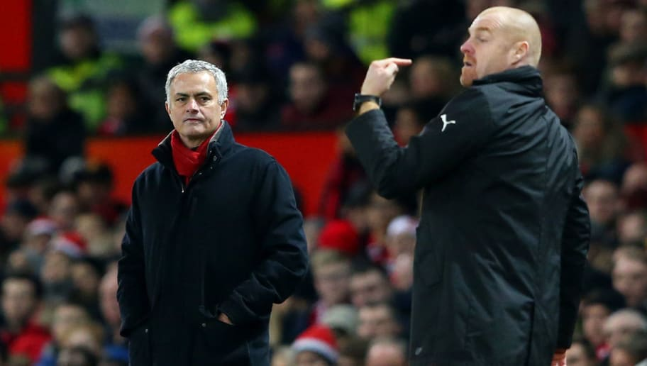 MANCHESTER, ENGLAND - DECEMBER 26:  Jose Mourinho, Manager of Manchester United reacts as Sean Dyche, Manager of Burnley makes a point during the Premier League match between Manchester United and Burnley at Old Trafford on December 26, 2017 in Manchester, England.  (Photo by Alex Livesey/Getty Images)
