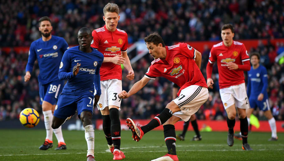 MANCHESTER, ENGLAND - FEBRUARY 25:  Nemanja Matic of Manchester United and N'Golo Kante of Chelsea in action during the Premier League match between Manchester United and Chelsea at Old Trafford on February 25, 2018 in Manchester, England.  (Photo by Laurence Griffiths/Getty Images)