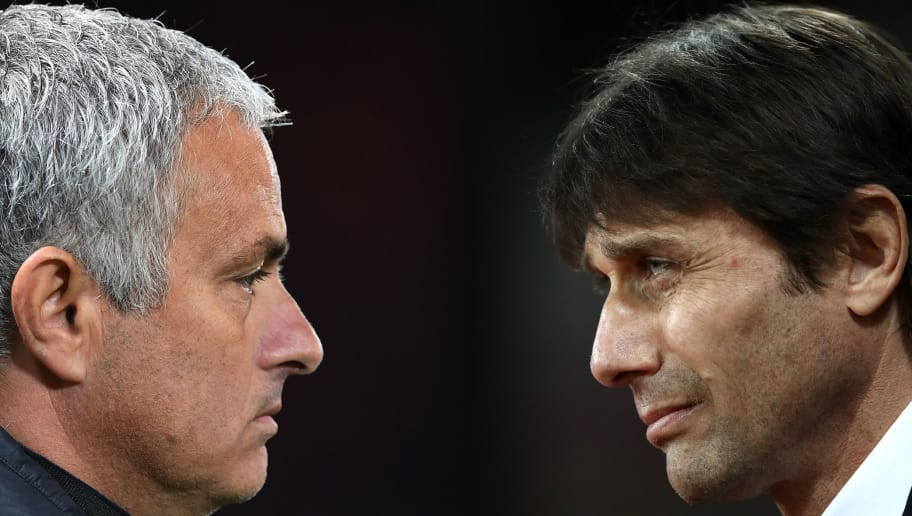 FILE PHOTO (EDITORS NOTE: GRADIENT ADDED - COMPOSITE OF TWO IMAGES - Image numbers (L) 615867896 and 648790080) In this composite image a comparision has been made between Jose Mourinho,Manager of Manchester United (L) and Antonio Conte, Manager of Chelsea. Chelsea and Manchester United meet a Premier Laegue match at Old Trafford on April 16, 2017 in Manchester,England. ***LEFT IMAGE*** MANCHESTER, ENGLAND - OCTOBER 20: Jose Mourinho the manager of Manchester United looks on during the UEFA Europa League Group A match between Manchester United FC and Fenerbahce SK at Old Trafford on October 20, 2016 in Manchester, England. (Photo by Laurence Griffiths/Getty Images) ***RIGHT IMAGE*** STRATFORD, ENGLAND - MARCH 06: Antonio Conte, Manager of Chelsea looks on during the Premier League match between West Ham United and Chelsea at London Stadium on March 6, 2017 in Stratford, England. (Photo by Julian Finney/Getty Images) Restrictions