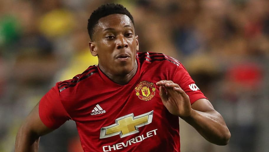 GLENDALE, AZ - JULY 19:  Anthony Martial #11 of Manchester United controls the ball during the International Champions Cup game against Club America at the University of Phoenix Stadium on July 19, 2018 in Glendale, Arizona.  (Photo by Christian Petersen/Getty Images for International Champions Cup)