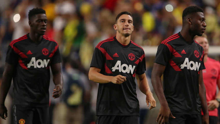 GLENDALE, AZ - JULY 19:  Matteo Darmian of Manchester United (center) warms up with teammates prior to the International Champions Cup game against the Club America at the University of Phoenix Stadium on July 19, 2018 in Glendale, Arizona.  (Photo by Christian Petersen/Getty Images for International Champions Cup)