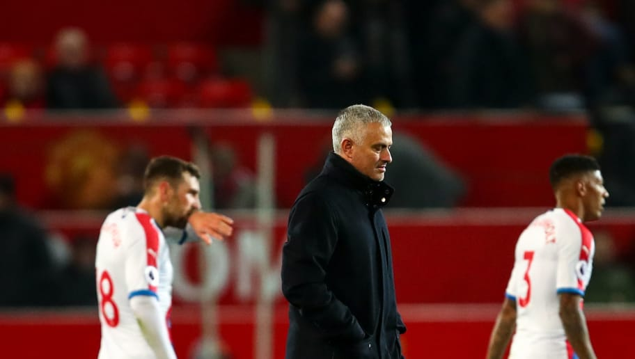 MANCHESTER, ENGLAND - NOVEMBER 24: A dejected Jose Mourinho the head coach / manager of Manchester United walks off at full time during the Premier League match between Manchester United and Crystal Palace at Old Trafford on November 24, 2018 in Manchester, United Kingdom. (Photo by Robbie Jay Barratt - AMA/Getty Images)