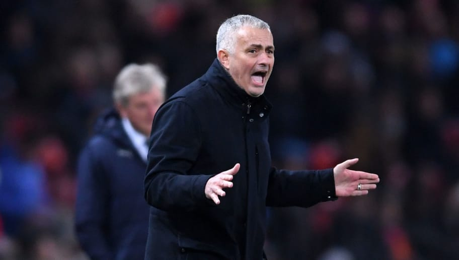 MANCHESTER, ENGLAND - NOVEMBER 24:  Jose Mourinho, Manager of Manchester United reacts during the Premier League match between Manchester United and Crystal Palace at Old Trafford on November 24, 2018 in Manchester, United Kingdom.  (Photo by Laurence Griffiths/Getty Images)
