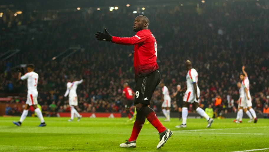 MANCHESTER, ENGLAND - NOVEMBER 24: Romelu Lukaku of Manchester United reacts after his goal is disallowed for offside during the Premier League match between Manchester United and Crystal Palace at Old Trafford on November 24, 2018 in Manchester, United Kingdom. (Photo by Robbie Jay Barratt - AMA/Getty Images)