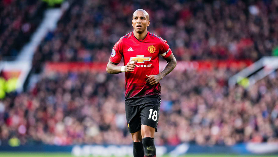 MANCHESTER, ENGLAND - NOVEMBER 24: Ashley Young of Manchester United looks on during the Premier League match between Manchester United and Crystal Palace at Old Trafford on November 24, 2018 in Manchester, United Kingdom. (Photo by Sebastian Frej/MB Media/Getty Images)