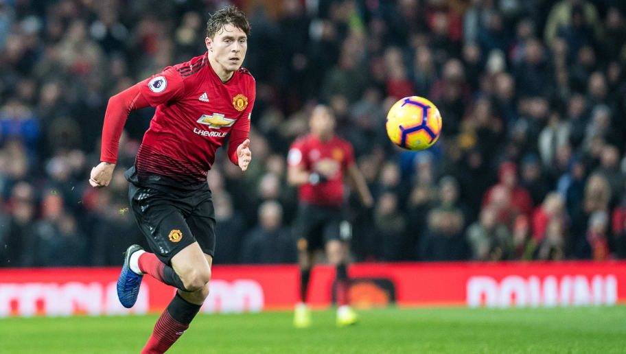 MANCHESTER, ENGLAND - NOVEMBER 24:  Victor Lindelof of Manchester United control ball during the Premier League match between Manchester United and Crystal Palace at Old Trafford on November 24, 2018 in Manchester, United Kingdom. (Photo by Sebastian Frej/MB Media/Getty Images)