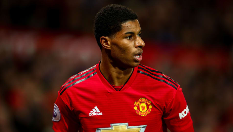 MANCHESTER, ENGLAND - NOVEMBER 24: Marcus Rashford of Manchester United during the Premier League match between Manchester United and Crystal Palace at Old Trafford on November 24, 2018 in Manchester, United Kingdom. (Photo by Robbie Jay Barratt - AMA/Getty Images)