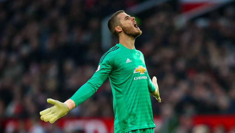 MANCHESTER, ENGLAND - NOVEMBER 24: David de Gea of Manchester United reacts during the Premier League match between Manchester United and Crystal Palace at Old Trafford on November 24, 2018 in Manchester, United Kingdom. (Photo by Robbie Jay Barratt - AMA/Getty Images)