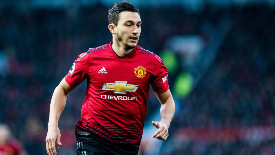 MANCHESTER, ENGLAND - NOVEMBER 24: Matteo Darmian of Manchester United looks on during the Premier League match between Manchester United and Crystal Palace at Old Trafford on November 24, 2018 in Manchester, United Kingdom. (Photo by Sebastian Frej/MB Media/Getty Images)
