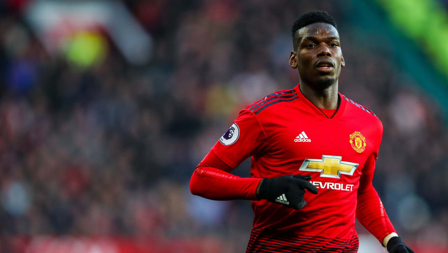 MANCHESTER, ENGLAND - NOVEMBER 24: Paul Pogba of Manchester United during the Premier League match between Manchester United and Crystal Palace at Old Trafford on November 24, 2018 in Manchester, United Kingdom. (Photo by Robbie Jay Barratt - AMA/Getty Images)