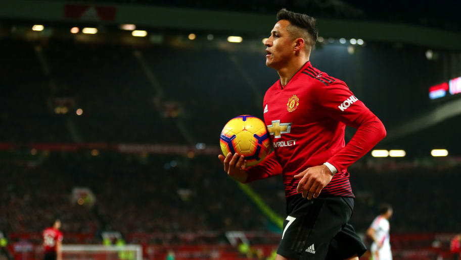 MANCHESTER, ENGLAND - NOVEMBER 24: Alexis Sanchez of Manchester United during the Premier League match between Manchester United and Crystal Palace at Old Trafford on November 24, 2018 in Manchester, United Kingdom. (Photo by Robbie Jay Barratt - AMA/Getty Images)